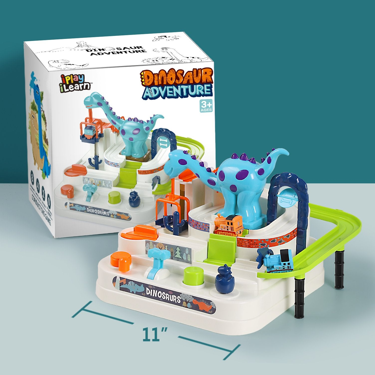 Dinosaur play set and packaging with 11-inch distance for scale