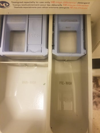 the same washing machine with all of the mold removed