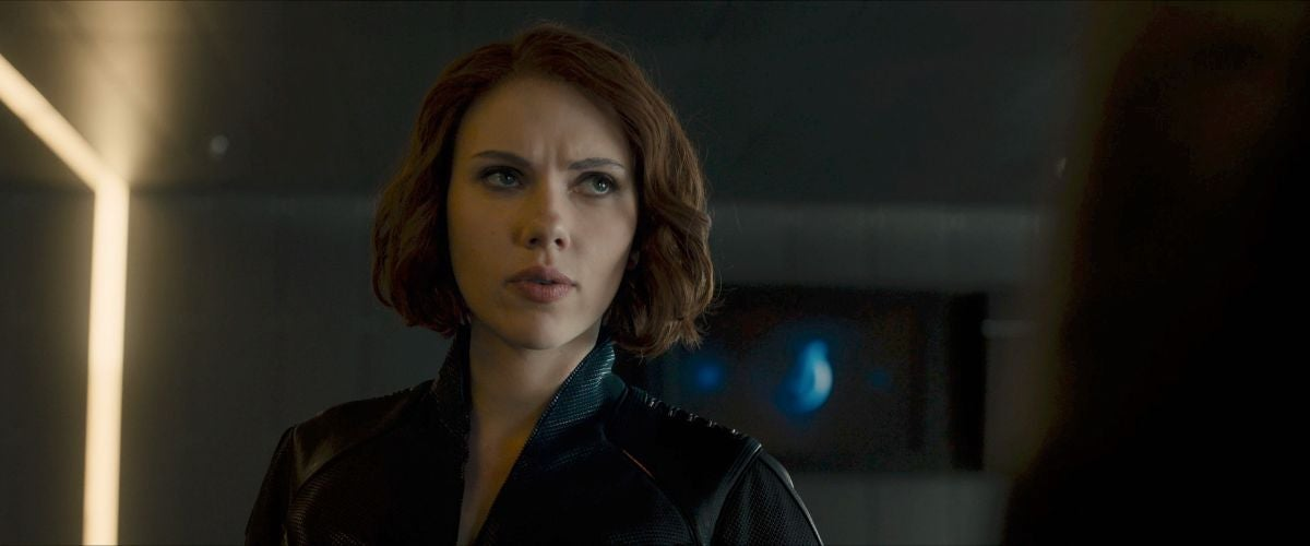 Black Widow looks at someone behind the camera