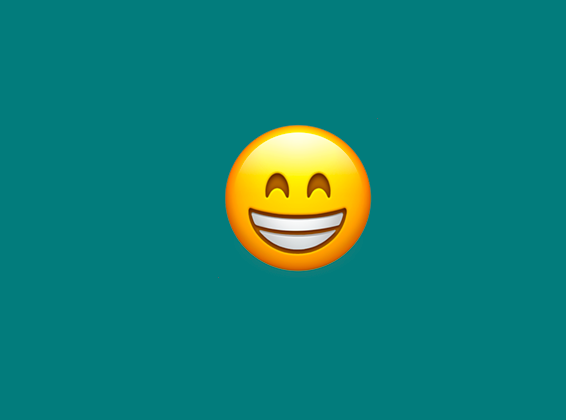 A smiley face showing its teeth