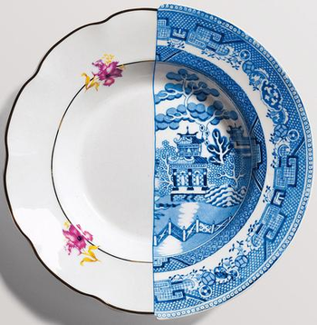 soup bowl with half white with flower detail design and half blue and white design