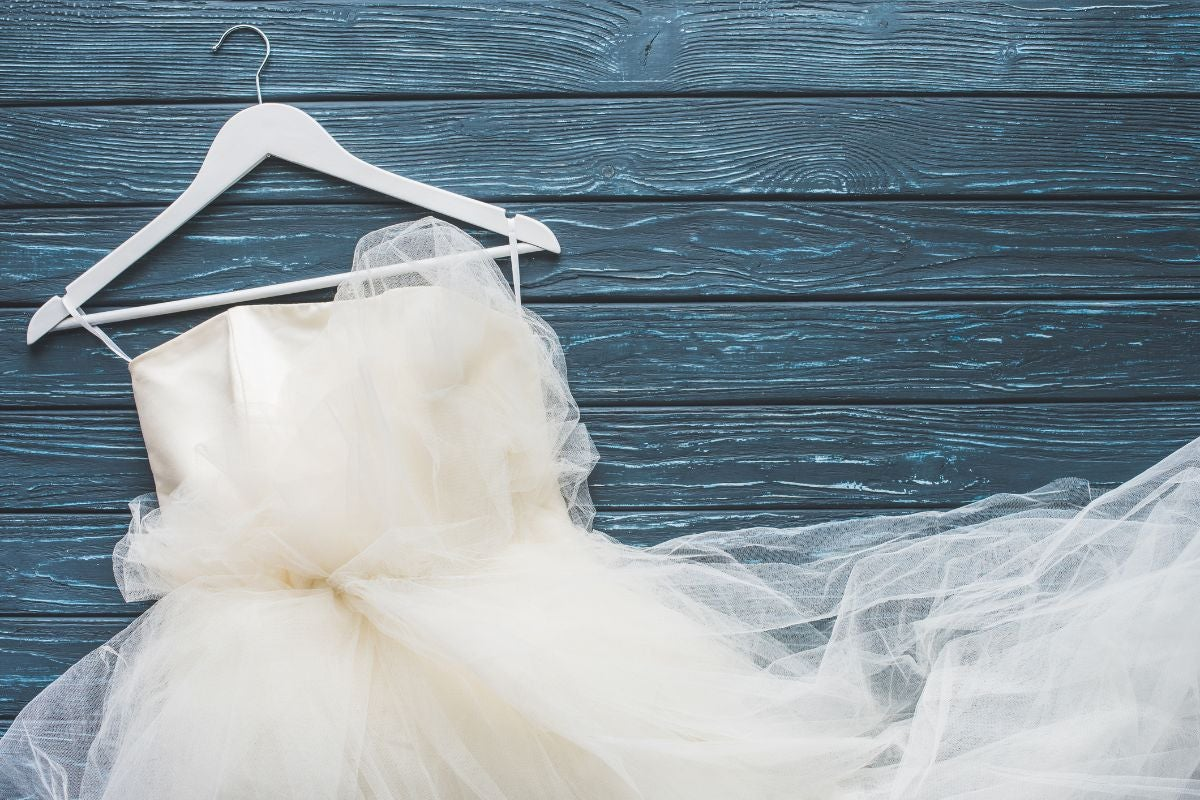 Strapless wedding dress with lots of tulle