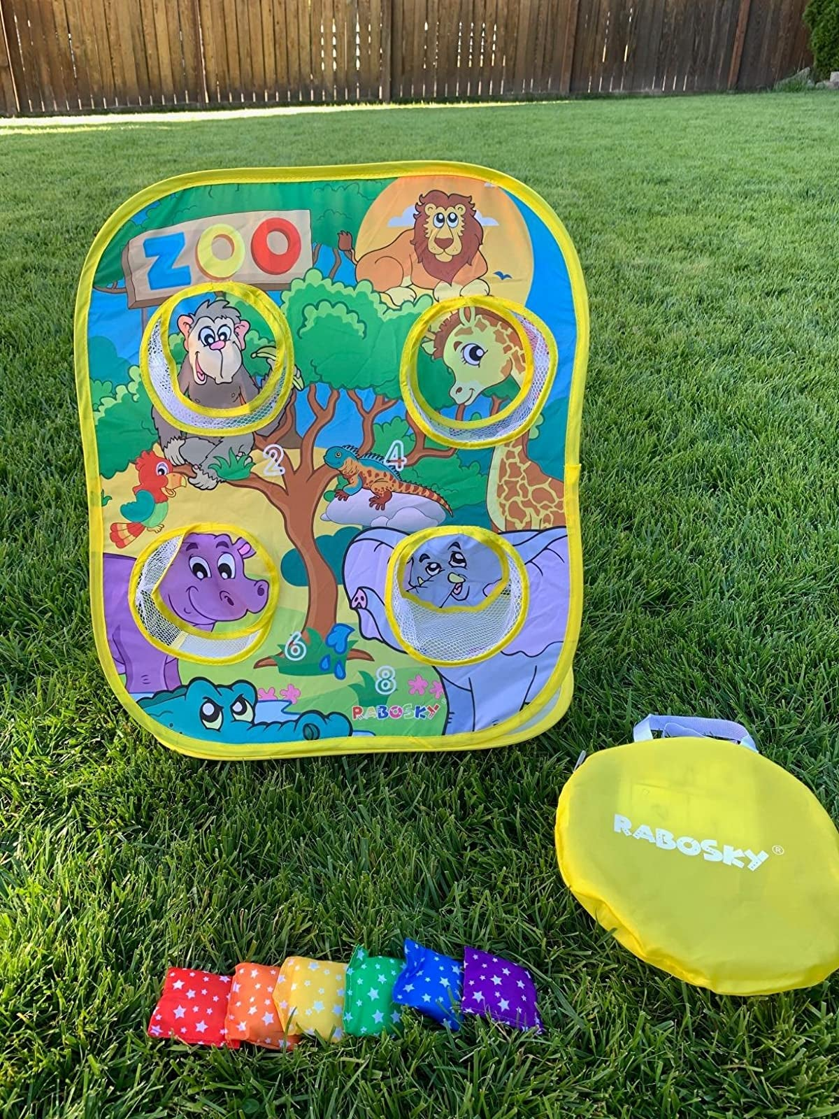 Reviewer photo of zoo animal bean game with colorful bean bags and carrying case