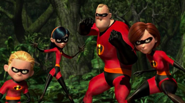 Dash, Violet, Mr. Incredible, and Mrs. Incredible prepare for battle