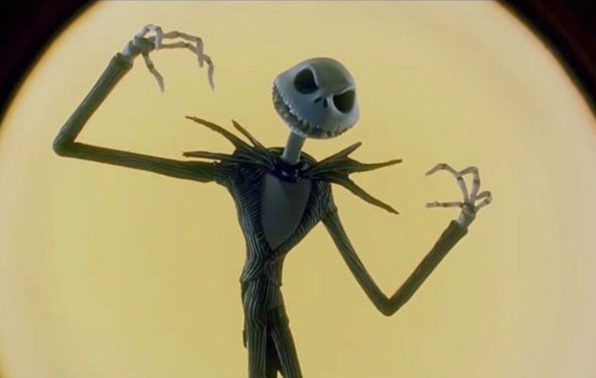 A tall skeleton in a suit