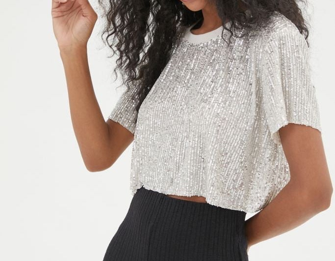 A sequined crop top