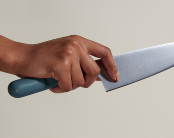 hand holding the blue handled knife