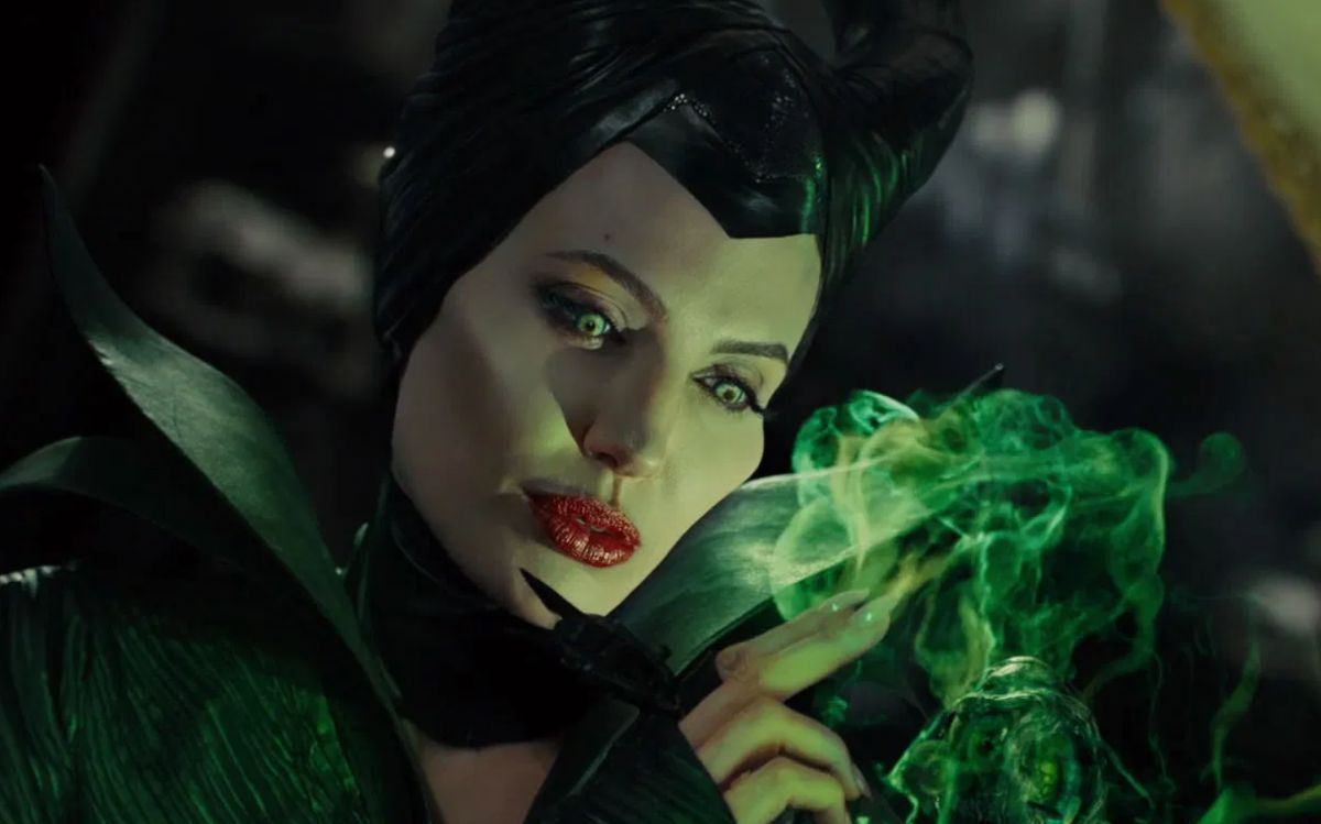 "Angelina Jolie as Maleficent in the movie ""Maleficent."""
