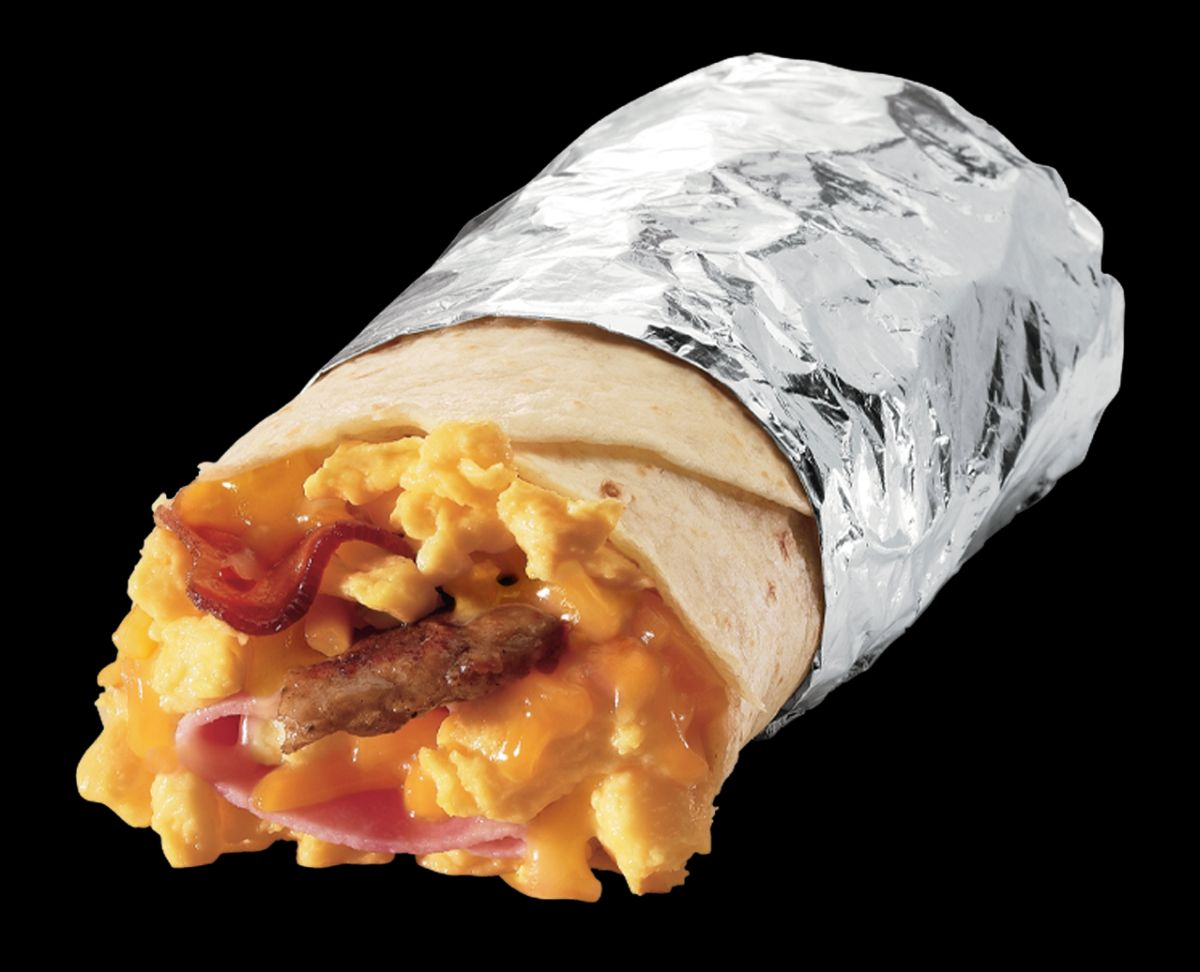 A burrito with egg, cheese, bacon, ham, and sausage