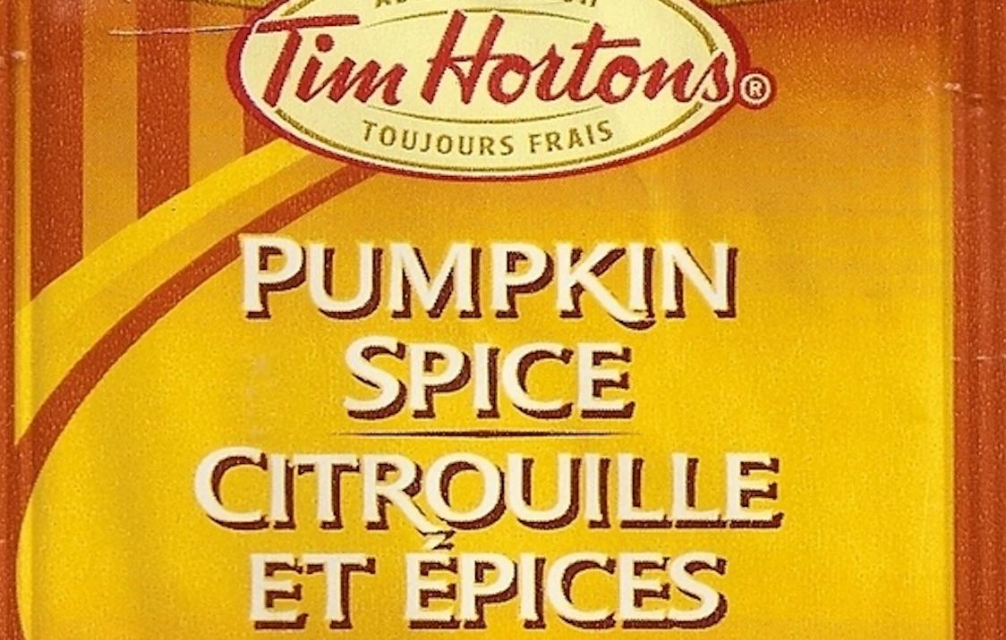 A bag of Tim Hortons pumpkin spice tea