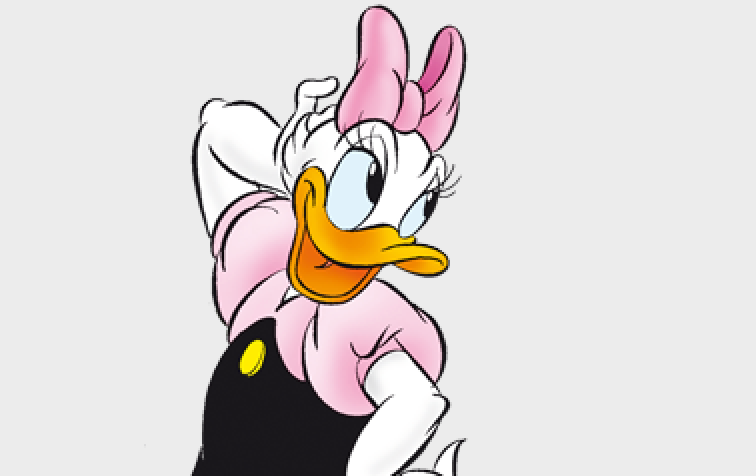 an animated duck with a bow smiles