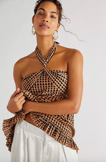 model wearing printed top