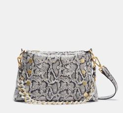 the snake print handbag with gold details