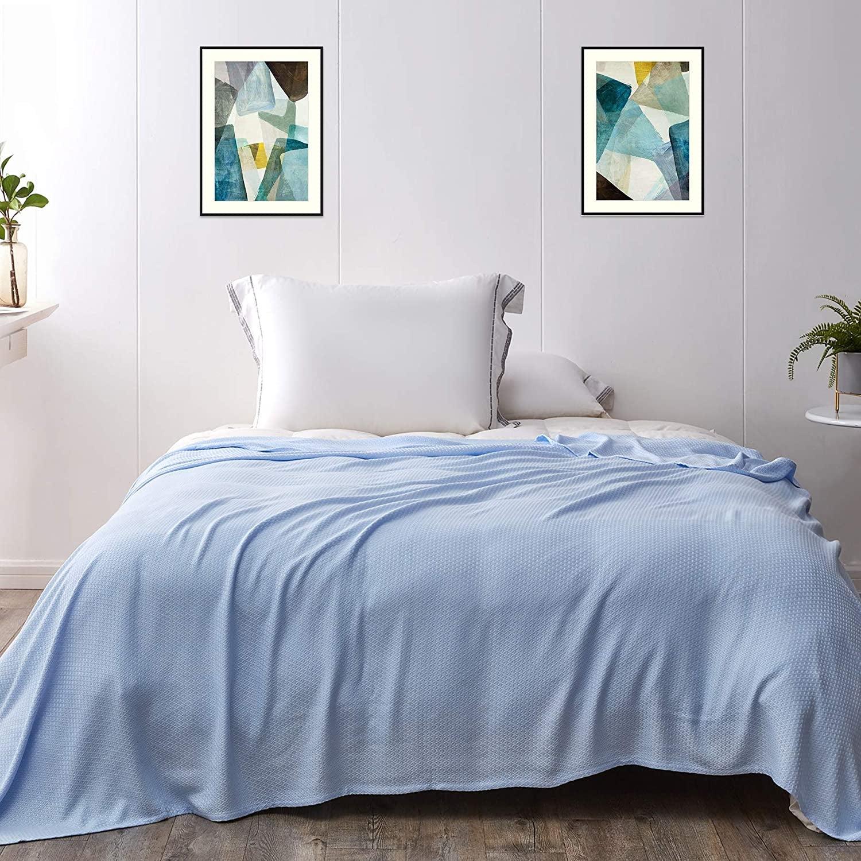 Light blue blanket over a bed