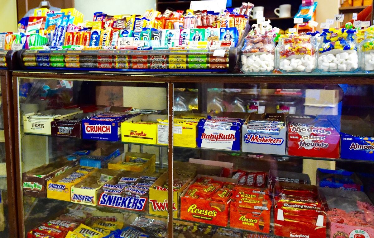 A display of different types of candy bars