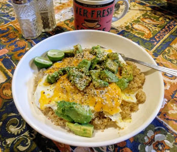 Bowl with an egg scramble in it