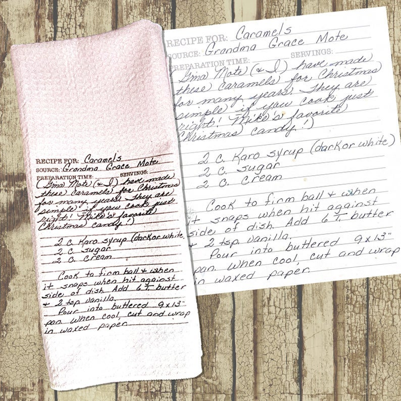 A white dishtowel with an image of a handwritten recipe screenprinted on it