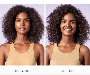 before and after photo of model before and after using shampoo
