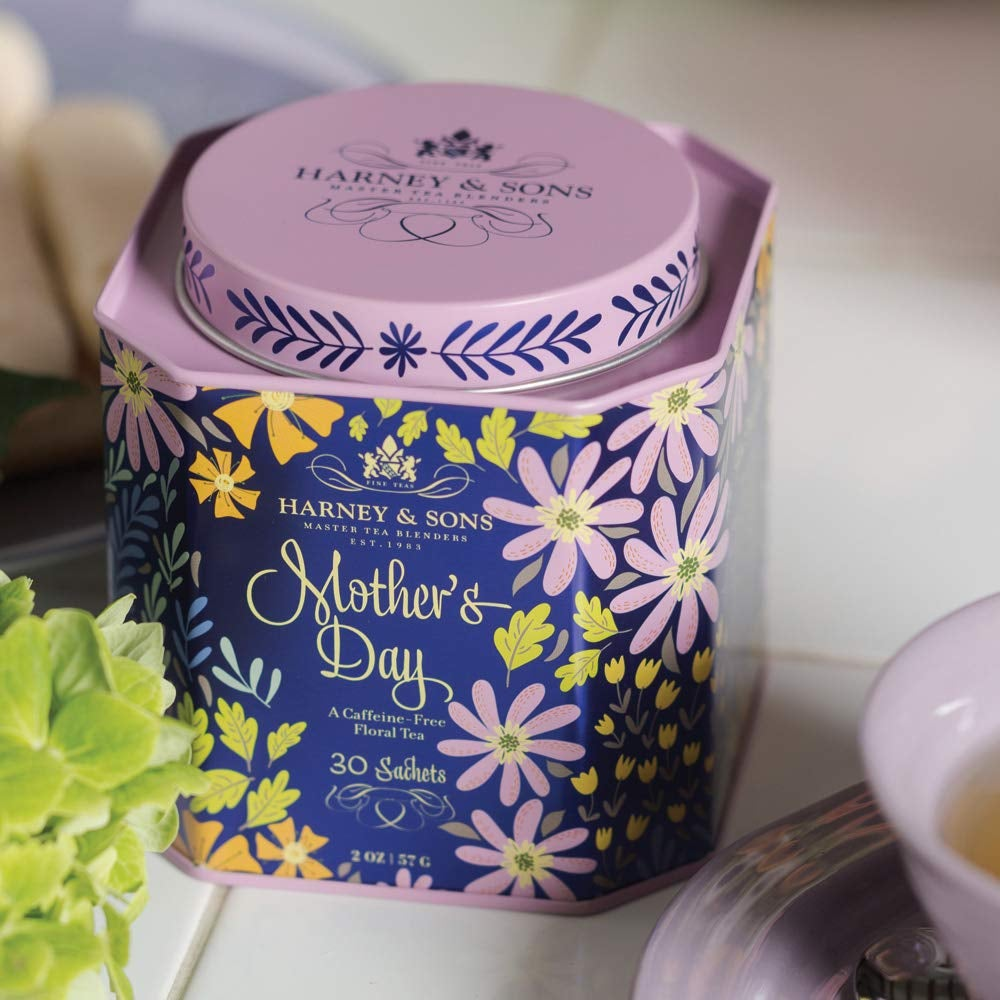 Purple floral tin of Mother's Day tea