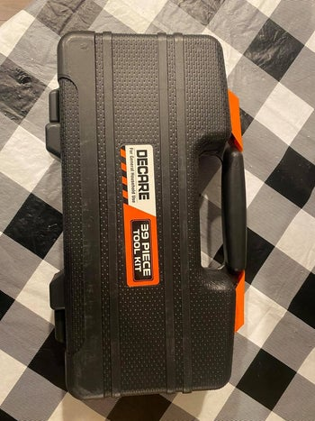 the case with handle closed up