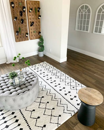 the rug in another living room setting, under a coffee table