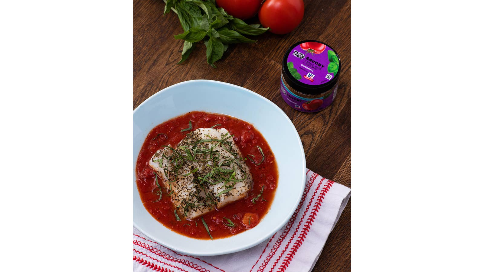 Savoury White Fish With Simmered Tomatoes