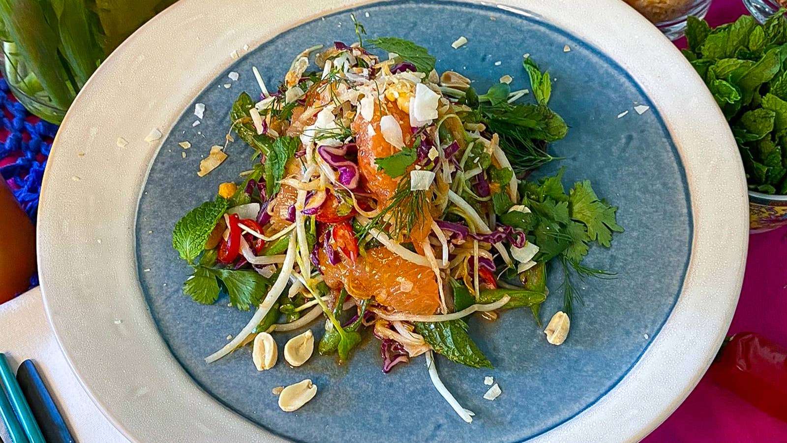 Grapefruit Salad With Thai Curried Coconut Dressing As Made By Arnold Myint