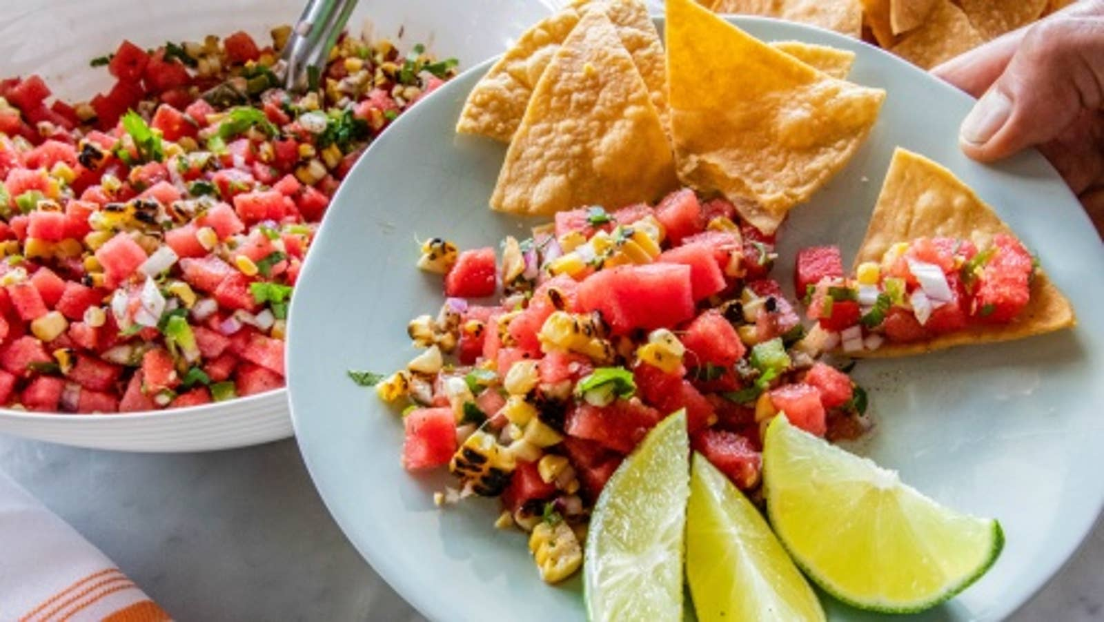 Grilled Corn & Watermelon Salsa