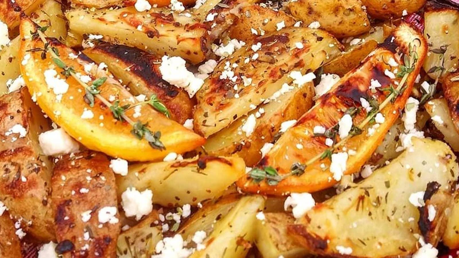 Oven-Roasted Greek Potatoes With Roasted Lemon Wedges
