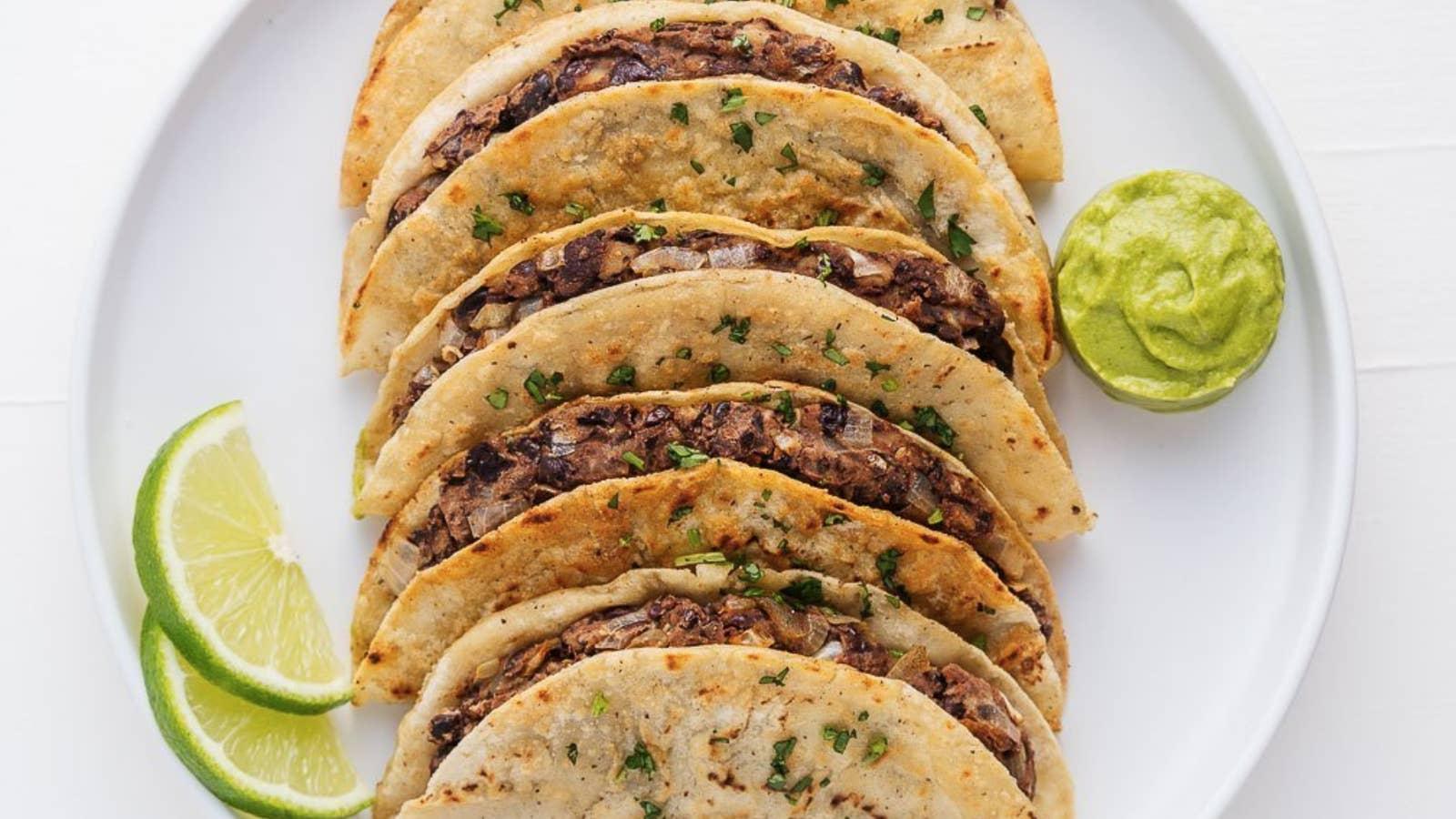 Crispy Black Bean Tacos With Avocado Cream Sauce