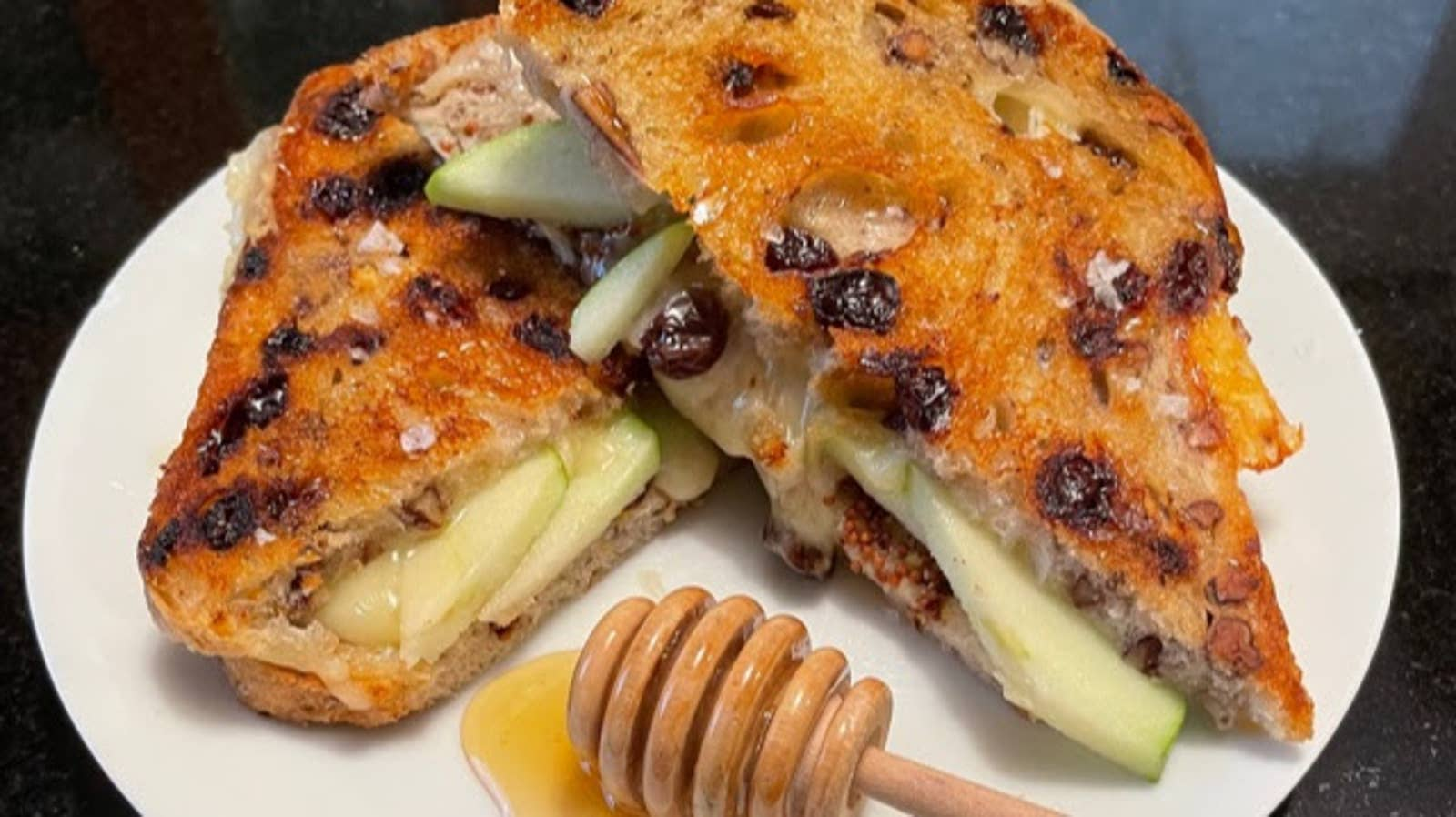 Salted Honey Apple Brie Grilled Cheese