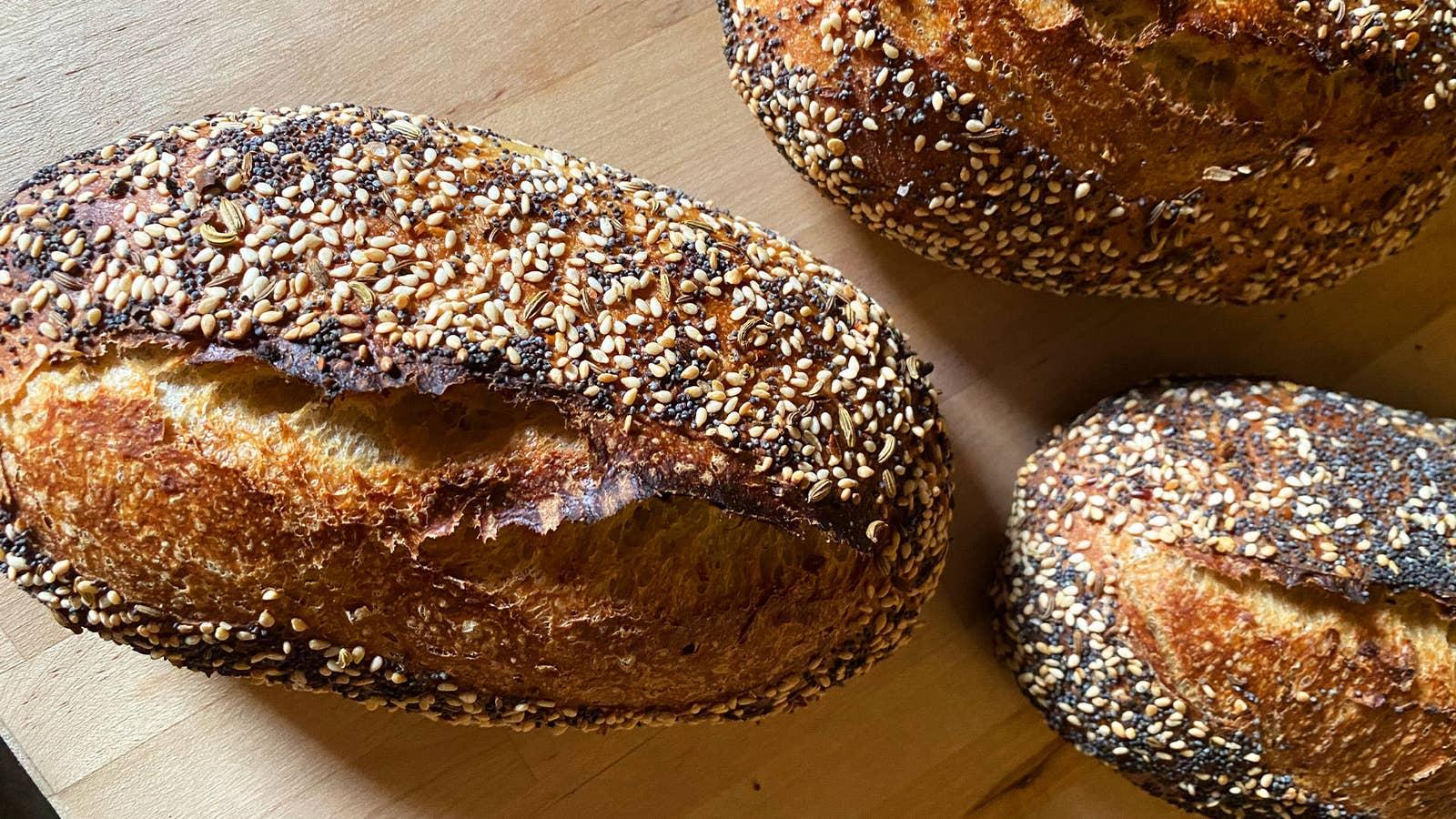 Mini Everything Seasoning Sourdough Loaves