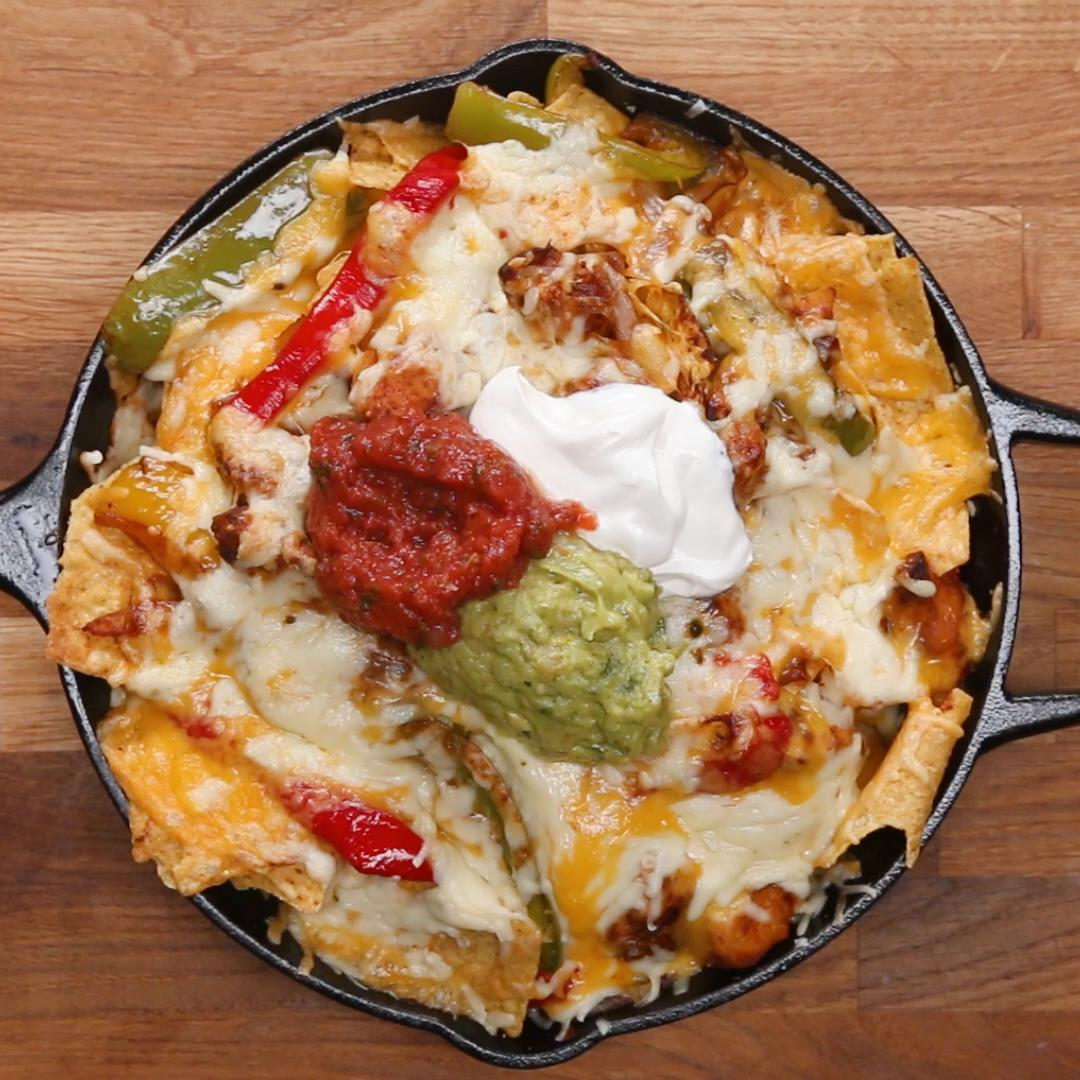 Loaded Chicken Fajita Nachos Recipe By Tasty