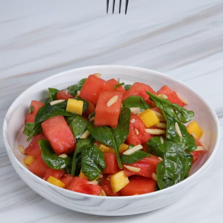 Watermelon Salad With Spinach And Mango