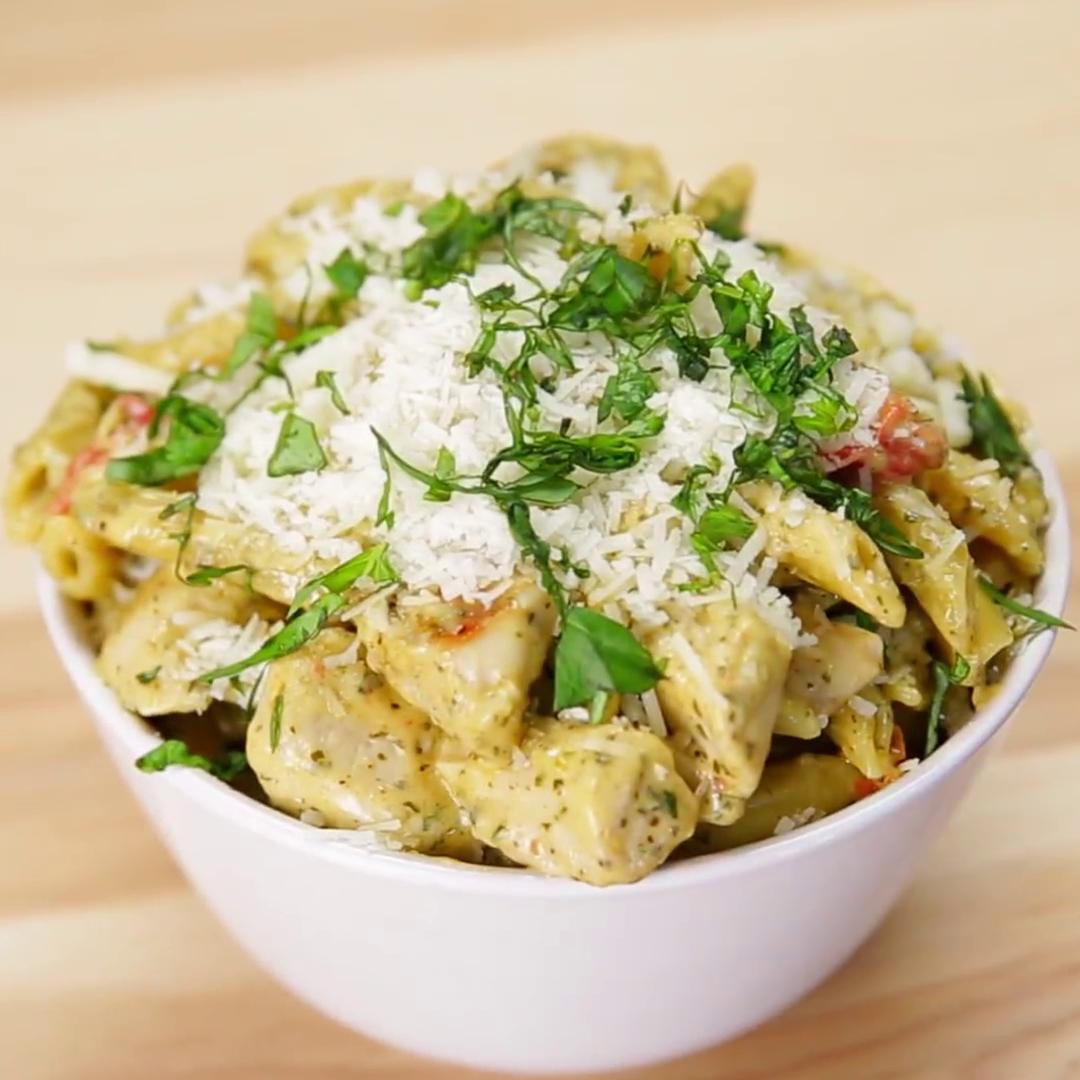 One Pan Garlic Chicken Pesto Pasta Recipe By Tasty