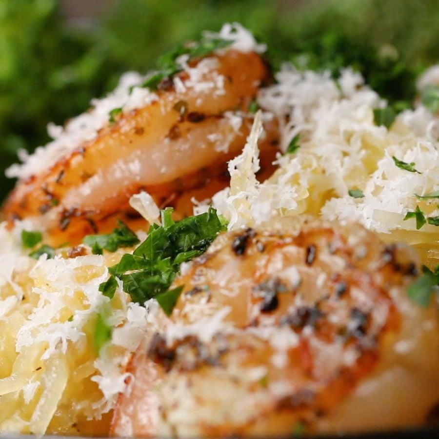 Garlic Herb Shrimp And Spaghetti Squash