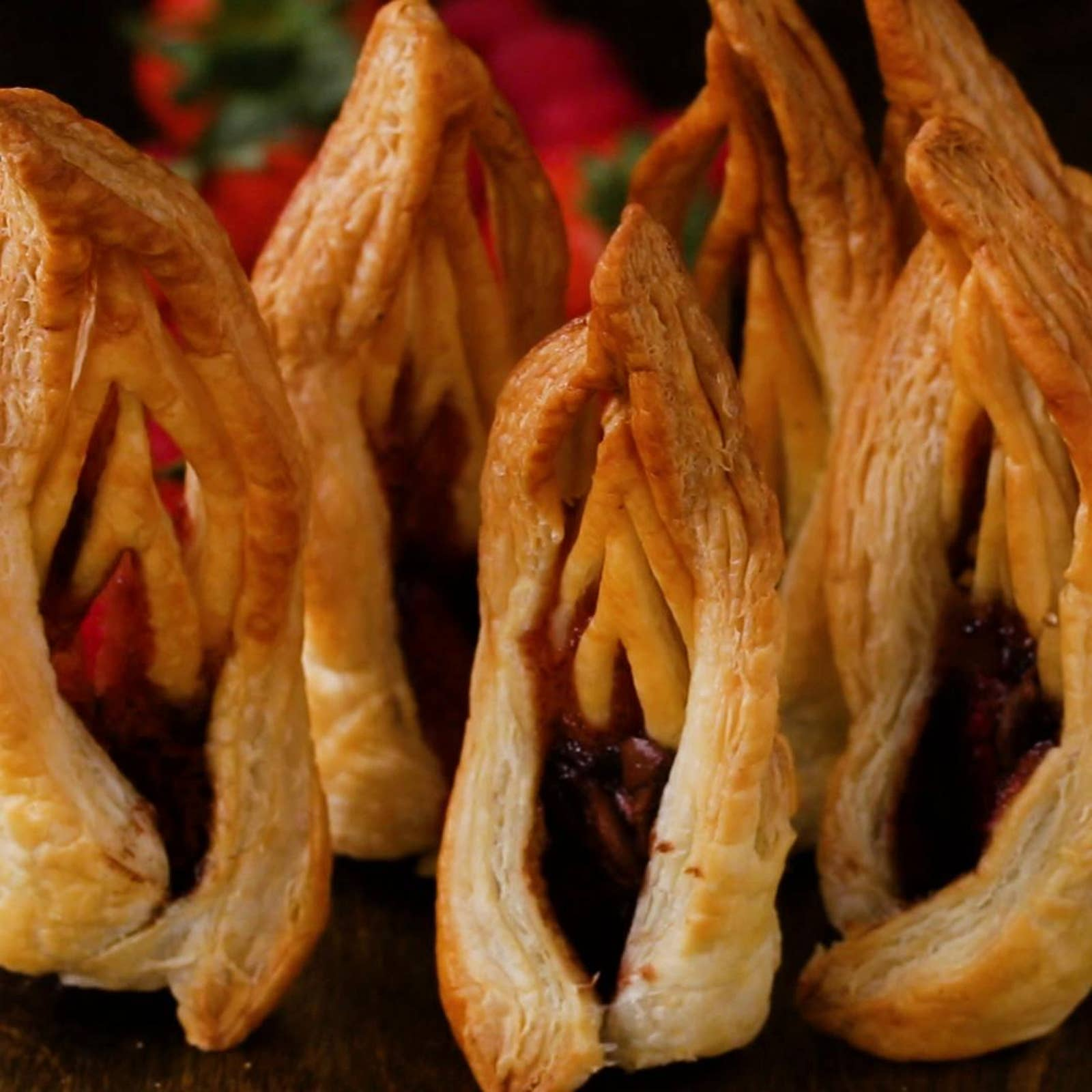 Chocolate Strawberry Puff Pastry Towers