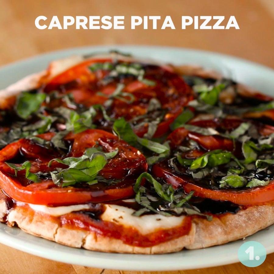 Microwaved Caprese Pita Pizza