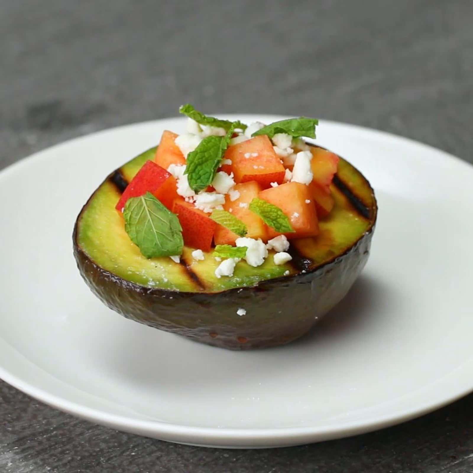 Peach, Feta, And Mint–stuffed Avocado