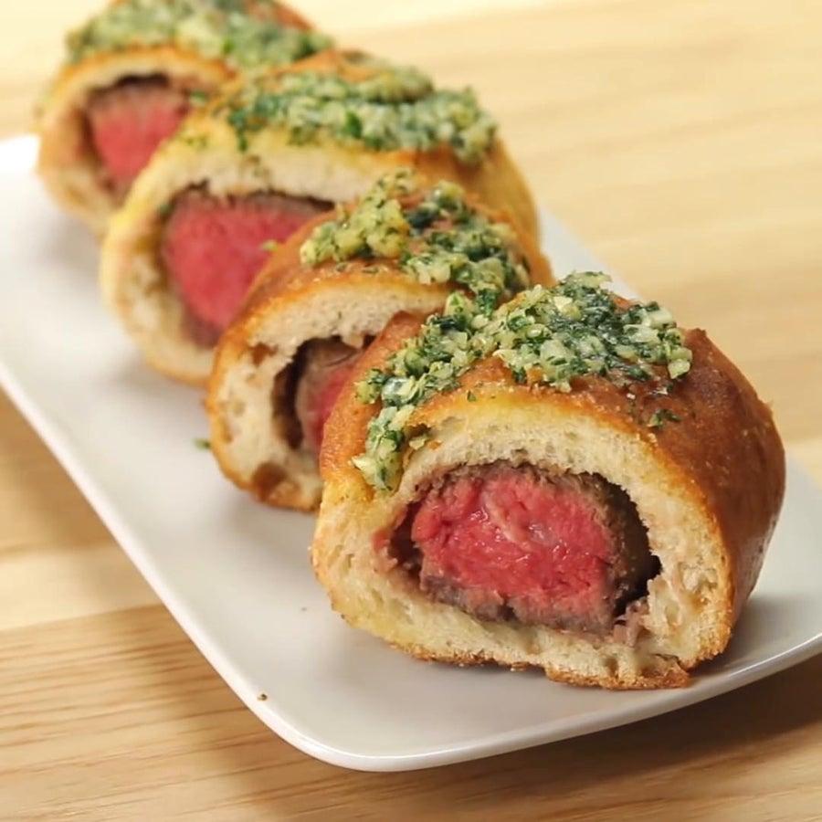 Steak-Stuffed Garlic Bread