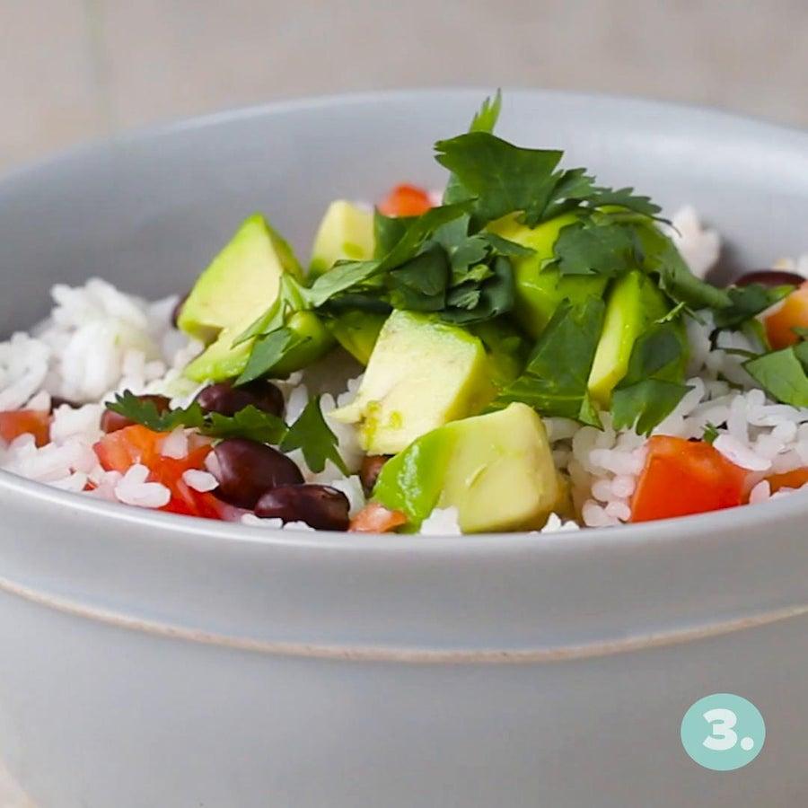 Microwaved Veggie Rice Bowl