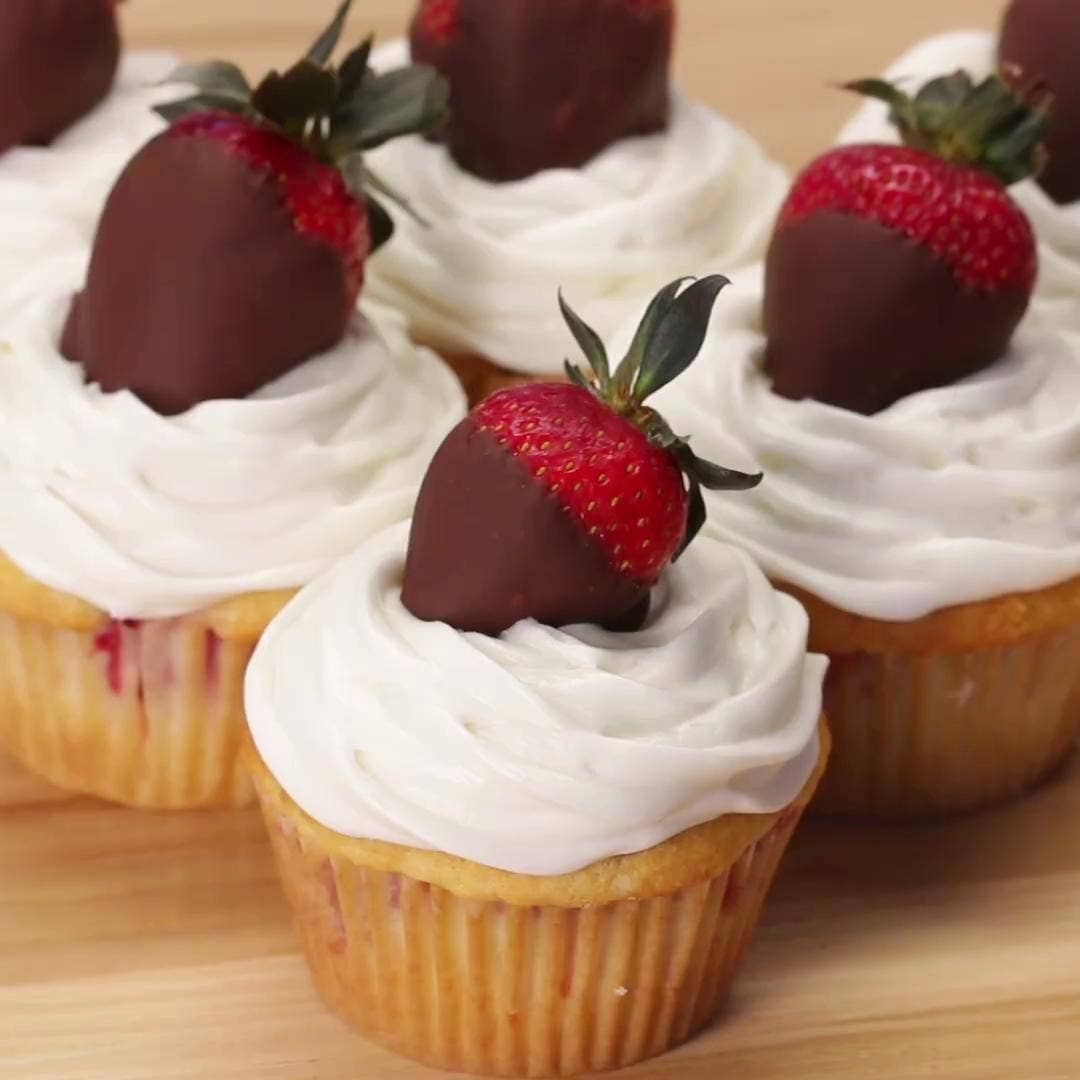 Chocolate Covered Strawberry Box Cupcakes Recipe By Tasty