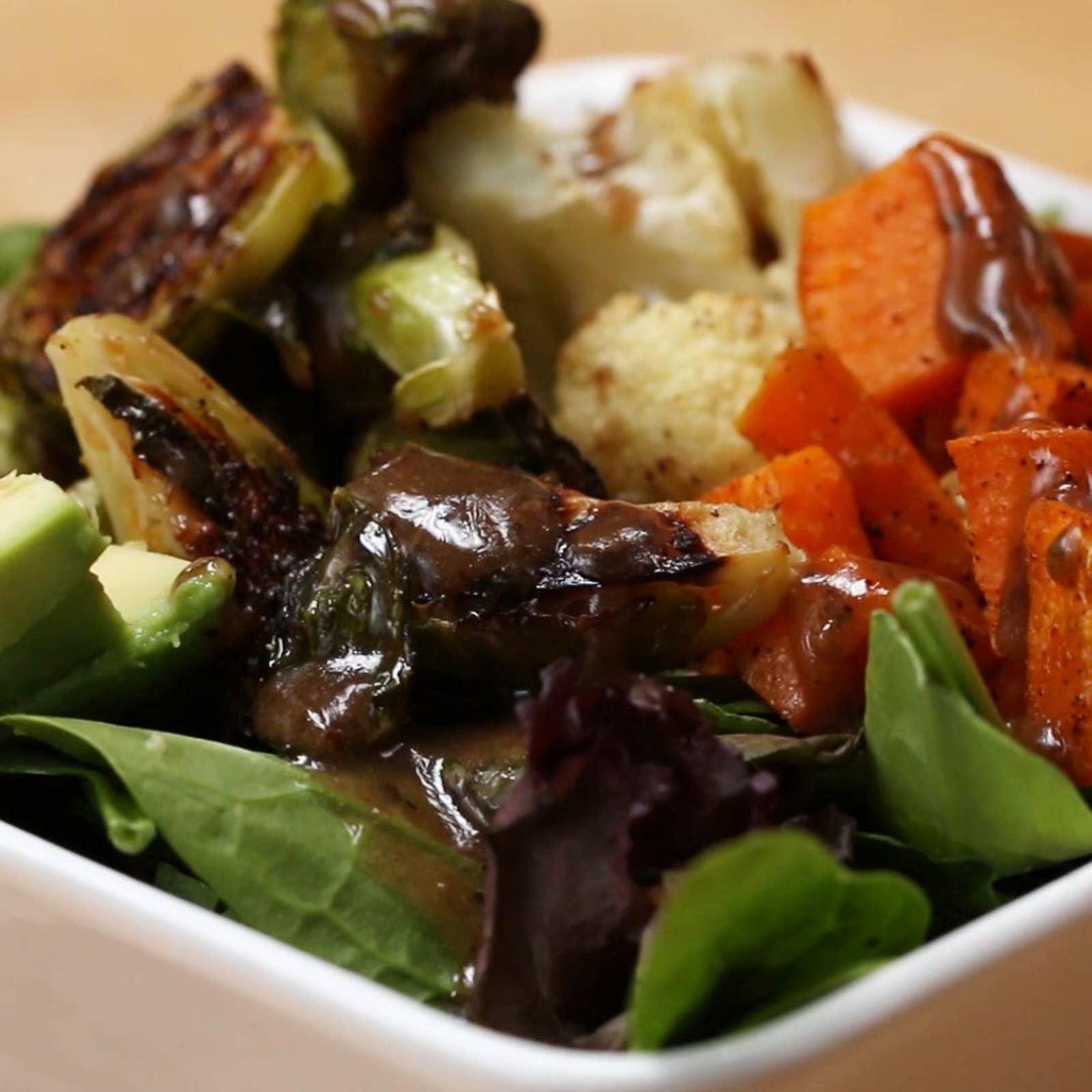 One-pan Roasted Veggie Salad Bowl