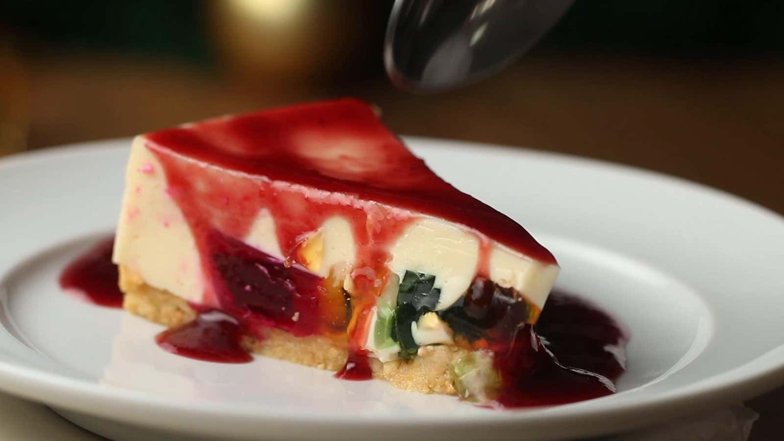 Colorful Gelatin Cheesecake