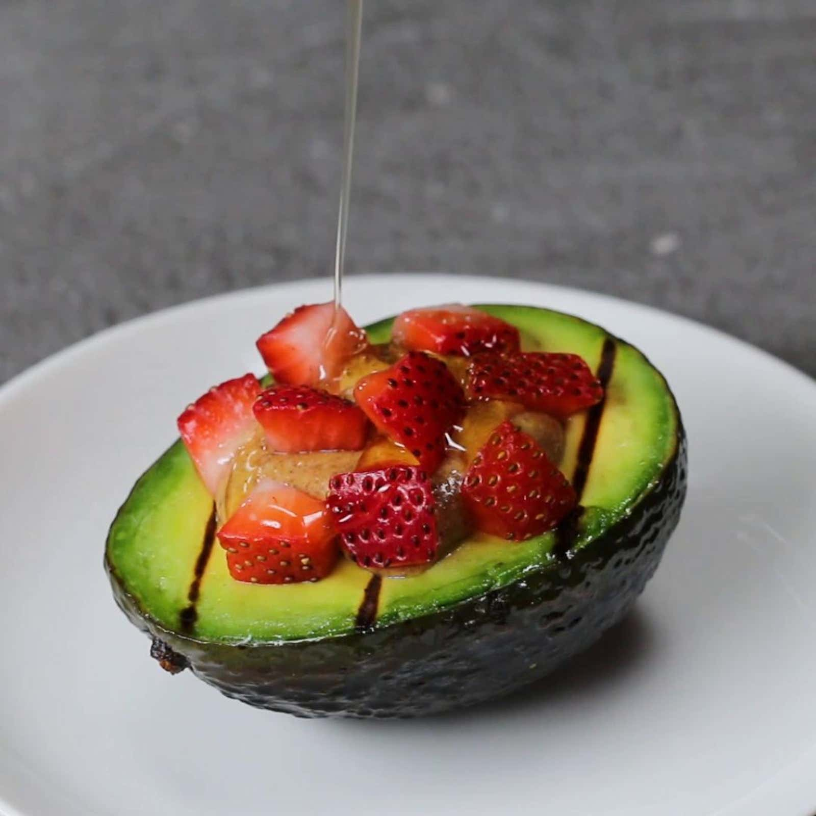 Almond Butter, Strawberry, Honey, And Mint–Stuffed Avocado