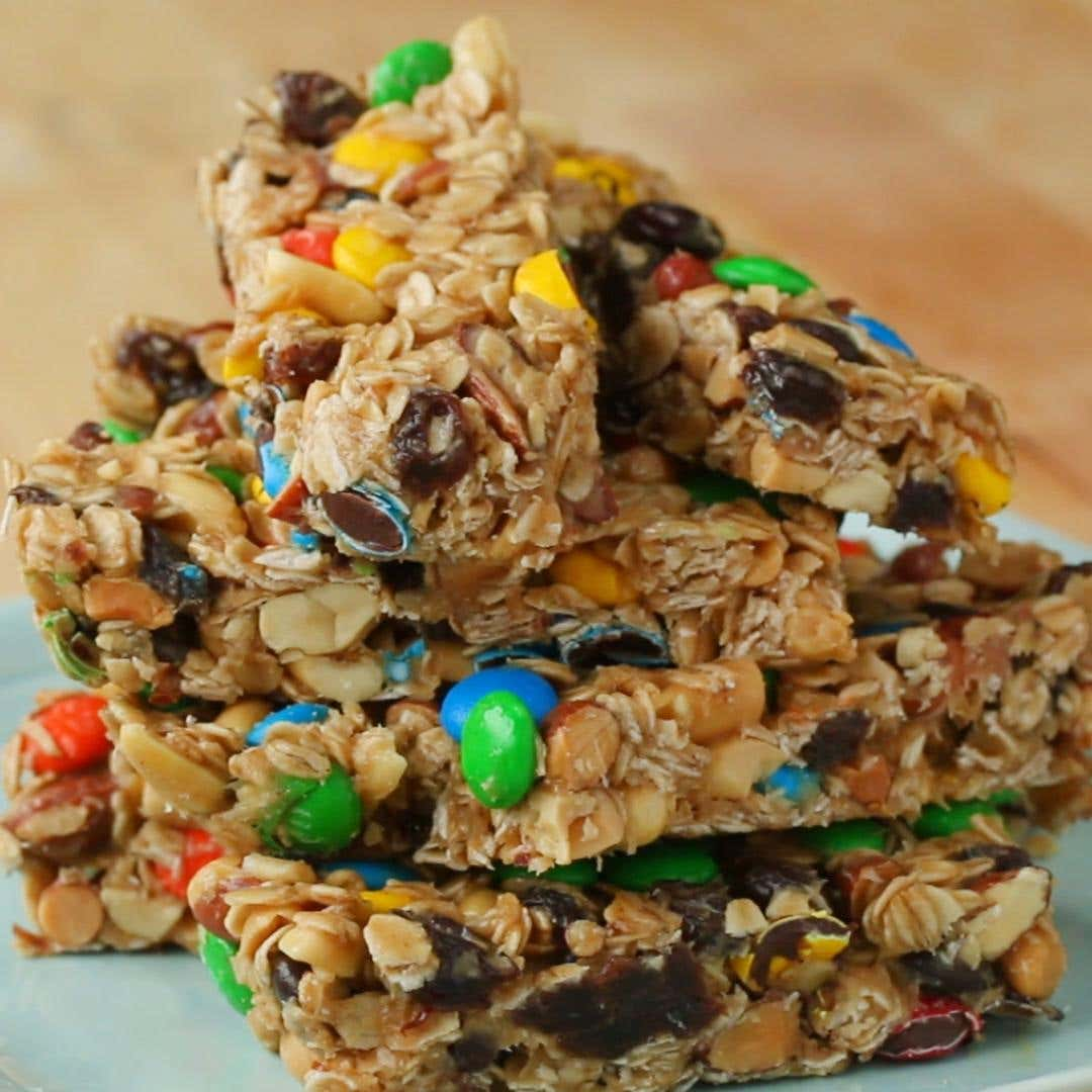 trail mix bars recipe by tasty
