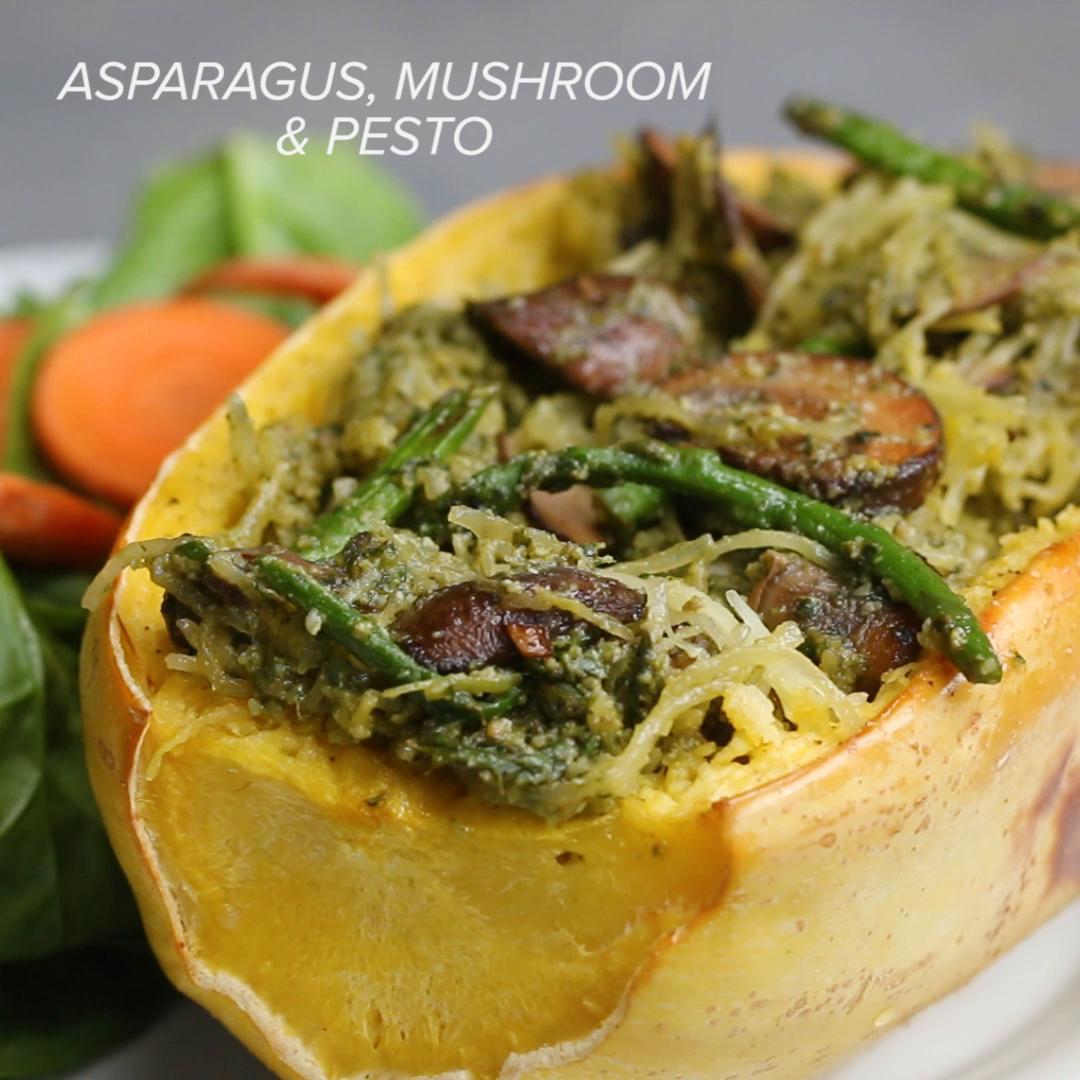 Asparagus And Mushroom Pesto Spaghetti Squash Recipe By Tasty