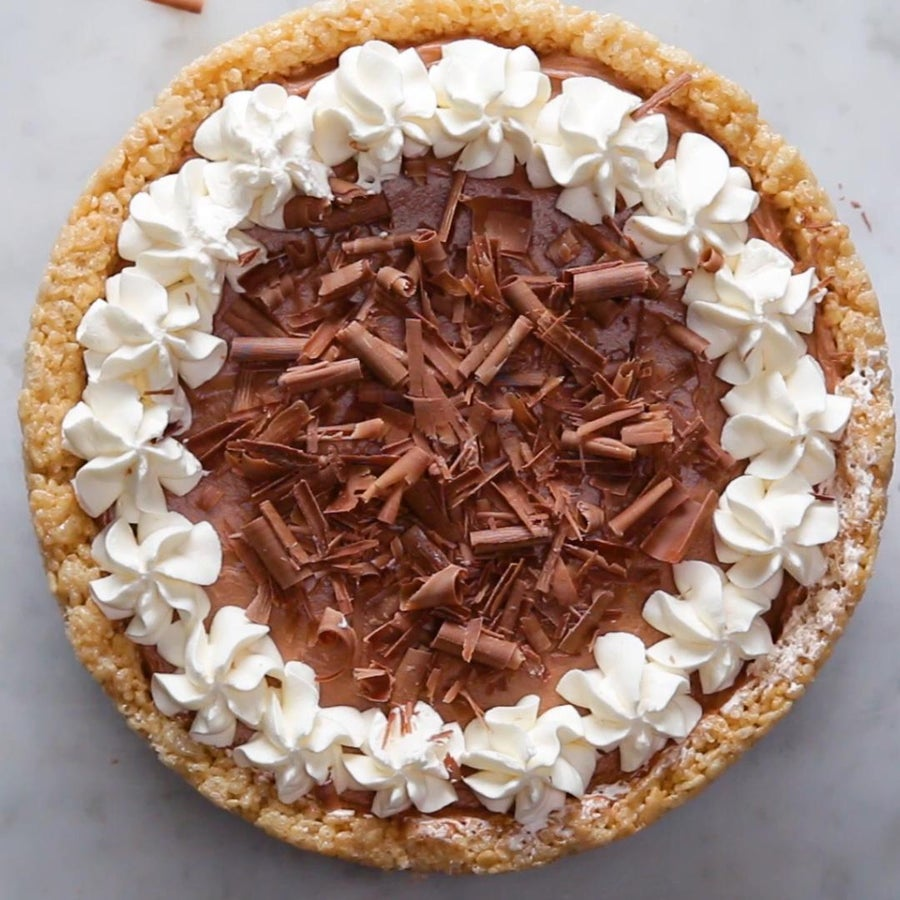 Crispy Rice Cereal Chocolate Cheesecake