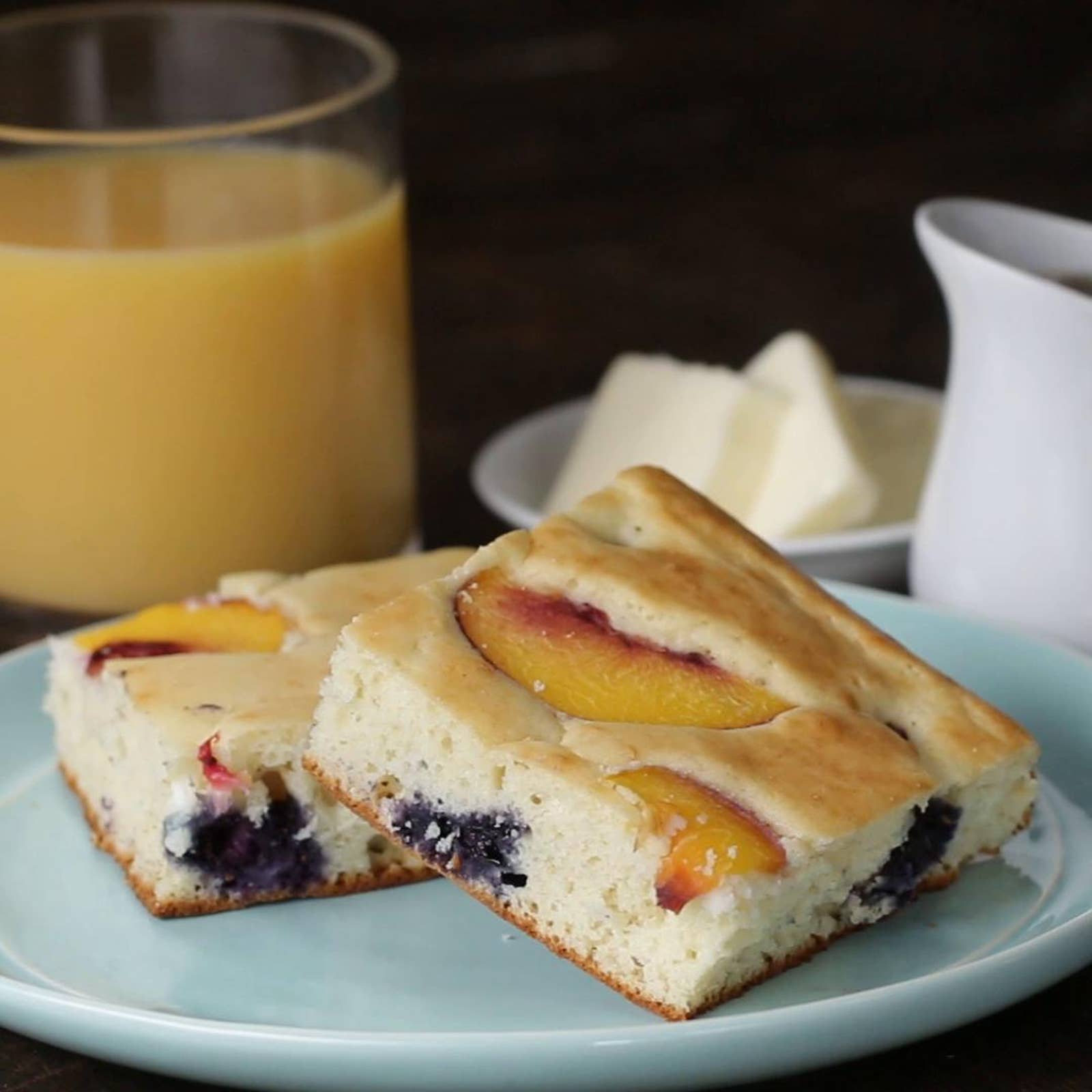 Blueberry Peach Sheet Pan Pancakes