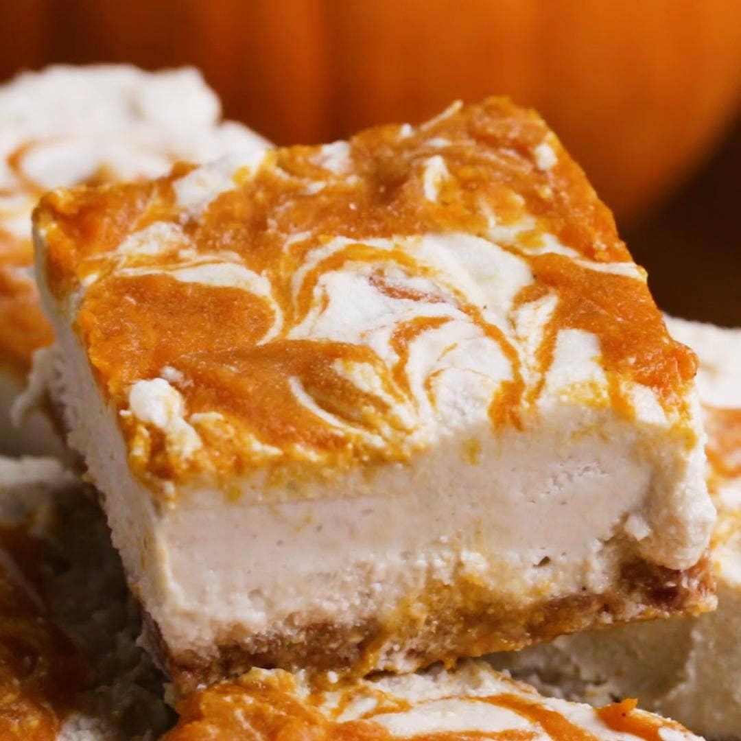 Vegan Pumpkin Cheesecake Bars Recipe By Tasty